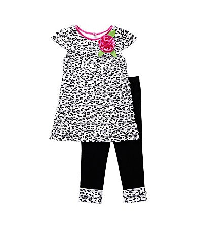 Sweet Heart Rose 2T-6X Animal Print Ruffled Top & Leggings Set