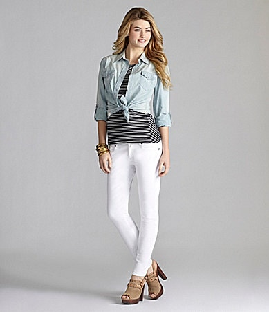Cremieux Shannon Blouse, Laura Striped Knit Top & 5-Pocket Skinny Pants