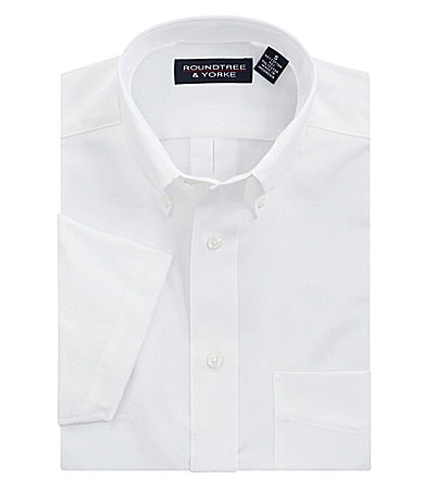 Roundtree & Yorke Big & Tall Easy Care Solid Herringbone Sportshirt