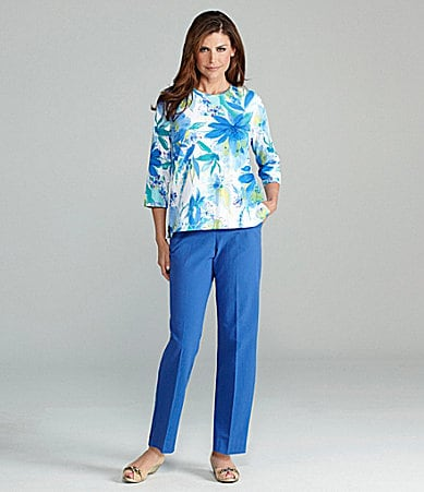 Samantha Grey Floral Printed Knit Top & Flat-Front Pants