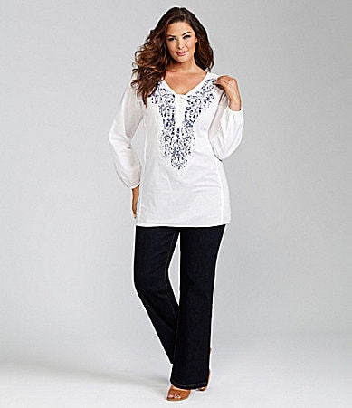 Reba Woman Crinkle Print Tunic & Stretch Denim Pants