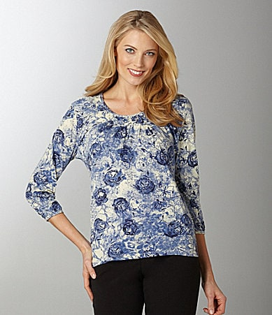 Westbound Rose-Print Pintuck Knit Top