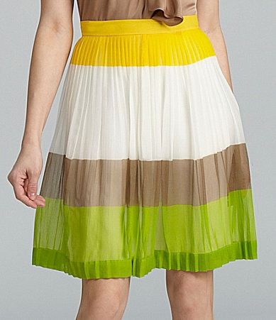 Antonio Melani Genny Pleated Colorblock Skirt