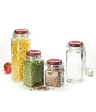 Global Amici Cresta Jar Set of  4 with Ceramic Red lids and White Polka Dots