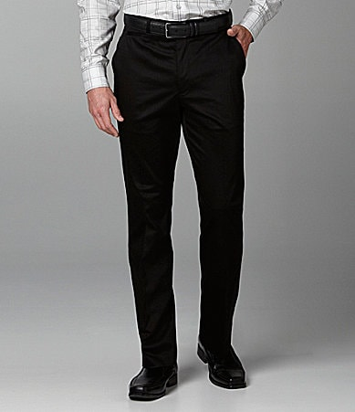 Perry Ellis Big & Tall Sateen Solid Flat-Front Pants