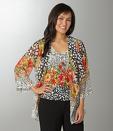 Investments Petites Jaguar Floral Printed Two-Fer Top
