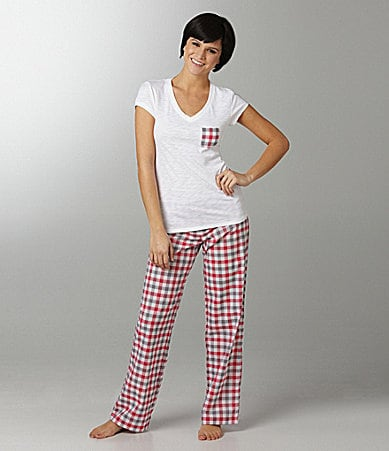 Jasmine & Ginger V-Neck Tee & Plaid Pants