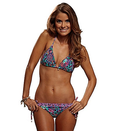 Bikini Lab Love Story Smocked Triangle Top & String Bottom