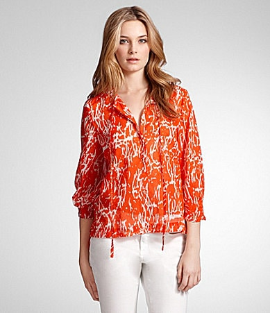 Kenneth Cole New York Abstract-Print Tie-Neck Blouse