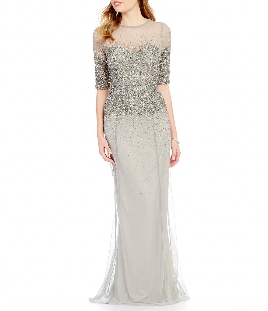 Adrianna Papell Beaded Sheer-Sleeve Gown