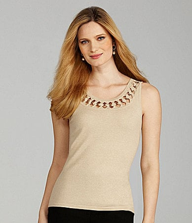 Preston & York Elroy Sleeveless Bead-Neck Tank