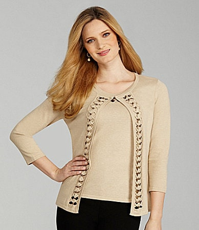 Preston & York Bertilde Bead-Trim Cardigan