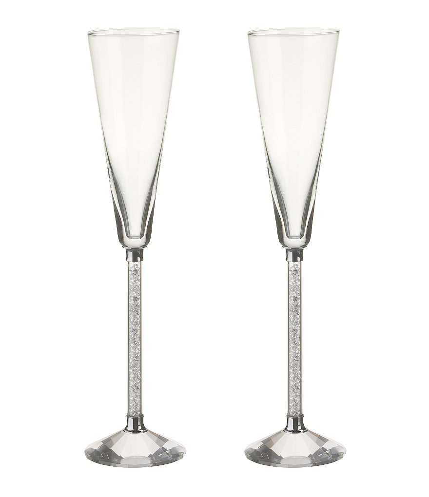 Oleg Cassini Crystal Diamond Toasting Flutes, Set of 2