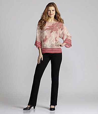 Nurture Printed Draped Top & Slim Leg Ponte Pants
