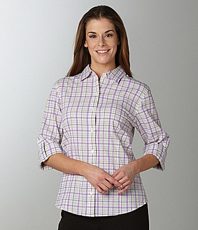 Westbound Easy Care Roll-Tab Plaid Shirt