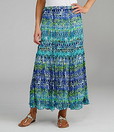 TanJay Petites Ombre Printed Crinkle Pull-On Panel Skirt
