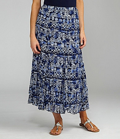 TanJay Printed Crinkle Pull-On Maxi Skirt