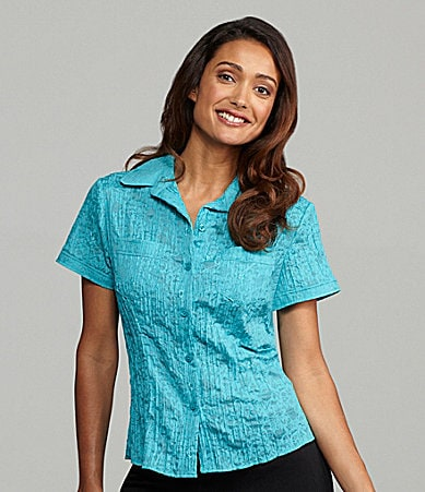 TanJay Crinkle Burnout Embroidered Blouse
