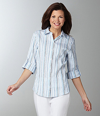 Westbound Petites Easy Care Roll-Tab Crinkle Stripe Shirt