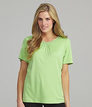 Allison Daley Petites Scoopneck Trim Top
