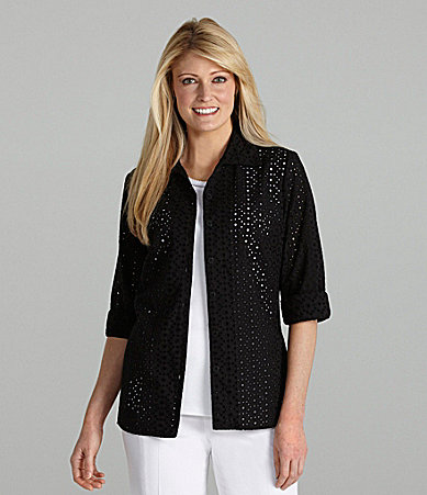 Allison Daley II Eyelet Button-Front Blouse