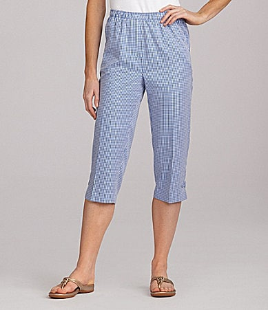 Allison Daley Petites Gingham Pull-On Capri Pants