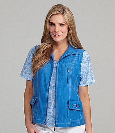 Allison Daley Crinkle Microfiber Twill Zip Vest