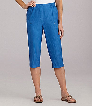 Allison Daley II Crinkle Pull-On Capri Pants