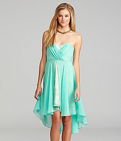 GB Strapless Lace Hem Dress
