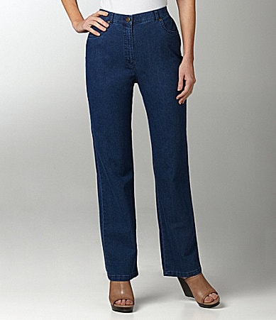 Allison Daley Slim F/X Classic Curvy Straight-Leg Denim Pants