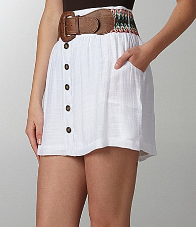 Stoosh Belted Button-Front Skirt