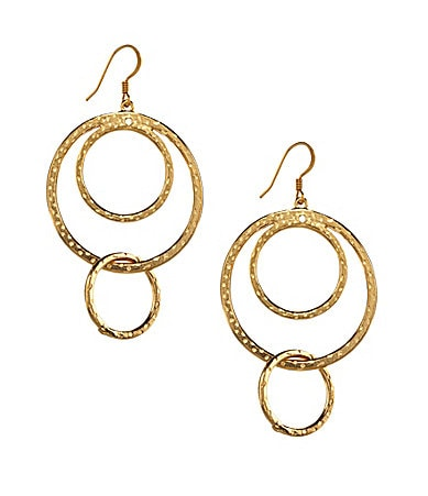 Kenneth Jay Lane Gold Triple Ring Drop Earrings