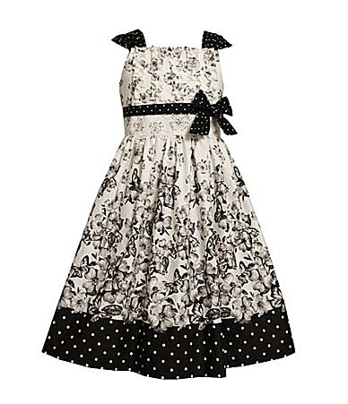 Bonnie Jean 7-16 Butterfly & Flower Print Woven Dress