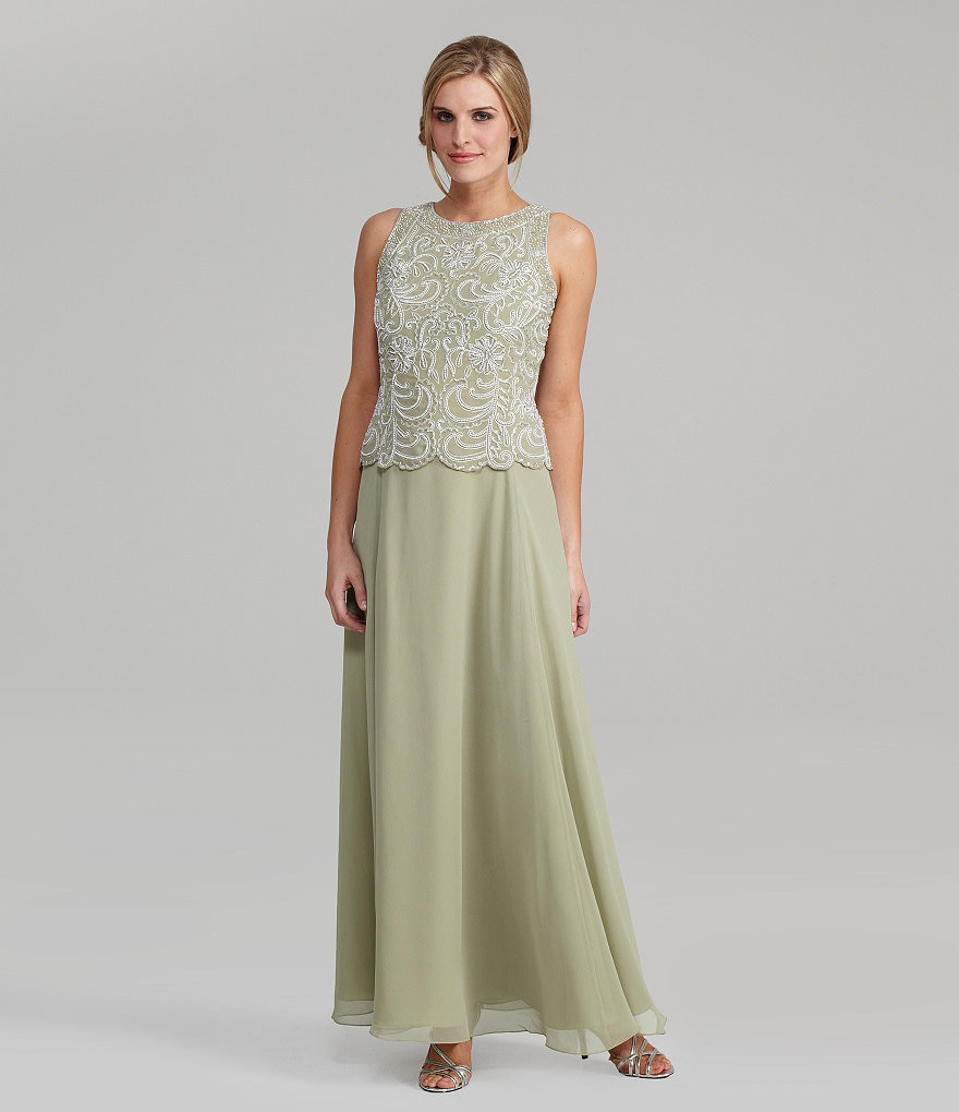 Jkara Beaded Sleeveless Chiffon Gown