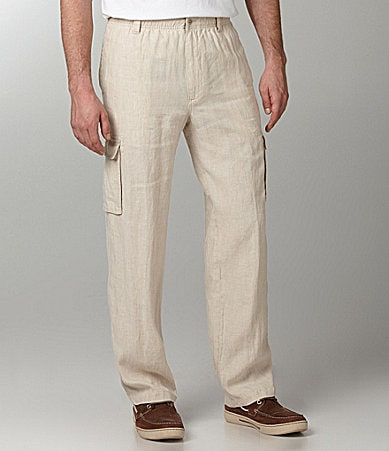 Caribbean Big & Tall Solid Linen Drawstring Pants