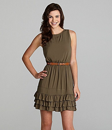 Jodi Kristopher Belted Ruffle-Hem Dress