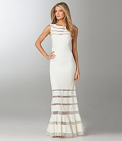 Tadashi Sleeveless Illusion Gown