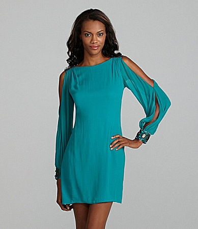 Aidan Mattox Split Sleeve Embellished Dress