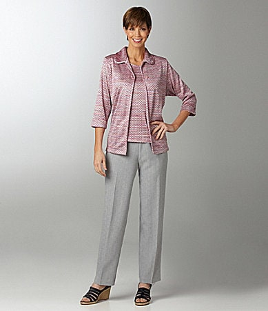 Allison Daley II Space-Dye Jacquard Knit Cardigan, Space-Dyed Jacquard Knit Top & Regatta Linen-Look Pull-On Pants
