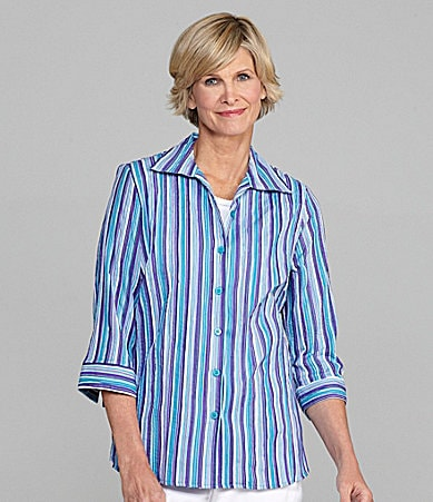 Allison Daley Petites Striped Crinkle Blouse