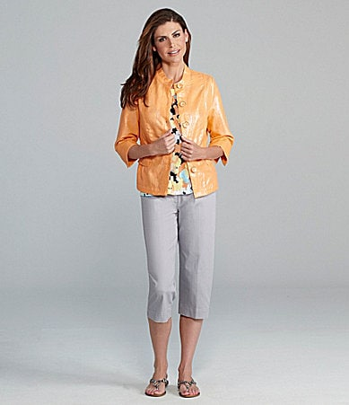 TanJay Foil Linen Jacket, Floral Print Knit Top &  Riviera Stretch Comfort Waist Cropped Pants