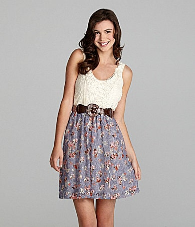 Jodi Kristopher Printed Lace Dress