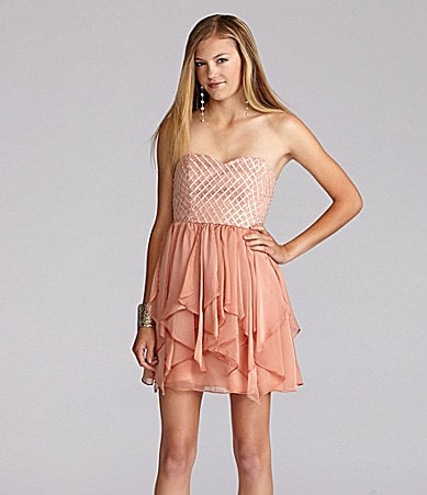 GB Strapless Embroidered Mesh Dress