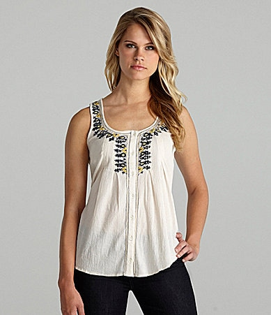 Willow & Clay Embroidered Gauze Tank