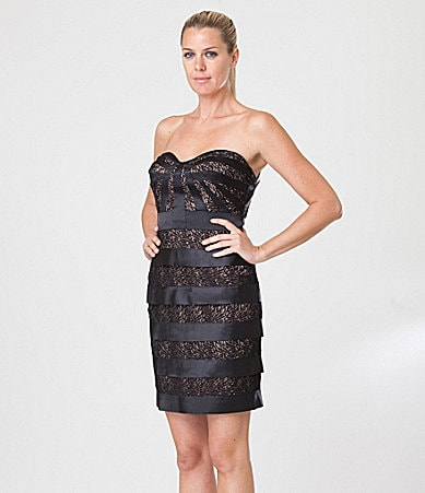 JS Collections Strapless Lace-Stripe Dress