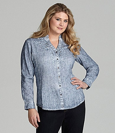Reba Woman Catalina Roll-Tab Knit/Woven Blouse
