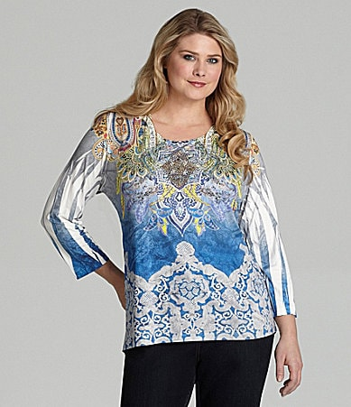 Reba Woman Sublimation-Print Knit Top
