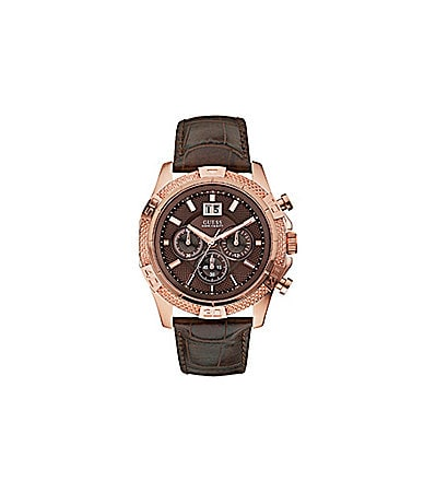 Guess Bold Brown Sport Rose Goldtone Chronograph Watch