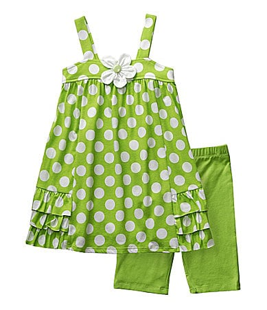 Sweet Heart Rose 2T-6X Polka Dot Print Top with Bike Shorts Set