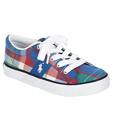 Polo Ralph Lauren Boys Giles Plaid Lace-Up Sneakers